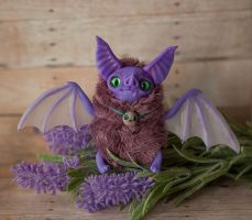 OOAK art toy Purple Bat doll fantasy creature by Furrykami-creatures