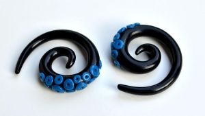Tentacle Gauges in Black and Blue 002 by Dabstar