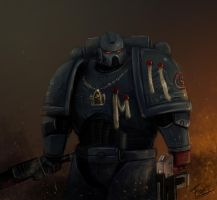 Crimson fist space marine by FonteArt