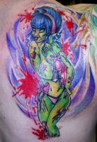 Zombie Pin Up Tattoo by SuperSibataru