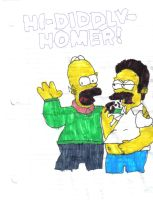 Homer and Flanders by Kai-da-Hedgehog