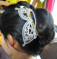 wire wrapped silver/ champain butterfly headpiece by Toowired