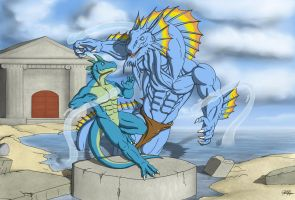 Commission: Waterbending Duel by TargonRedDragon