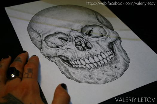 skull tattoo sketch dotwork by ValeriyLetov