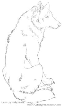 Free Lineart - Sitting chill wolf by CunningFox