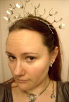 Mistletoe tiara in progress by fairyfrog