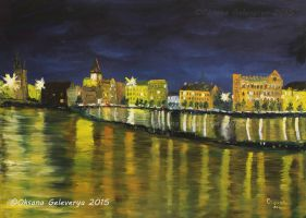 View On Night Prague - Vltava River by Oksana007