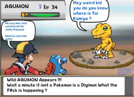 PKMN Trainer Gold and Agumon Sprite Comic by DarkraDx
