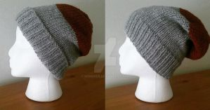 Gray and Brown Beanie by Wendifer