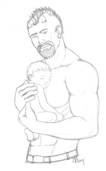Bale and daughter line art by Fayola