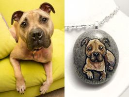 Custom Pitbull Dog Pendant Necklace by sobeyondthis