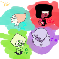 Garnet, Amethyst, and Pearl... and Peridot. by Helkie-three