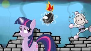 Twilight Sparkle VS Bomberman by nick3529