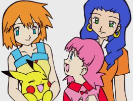 Misty, her daughter, Pikachu,and Miranda (Colored) by lookatallthekitties