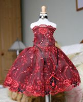 ruby red lace dress for unoas ans minifees by CandyKittensEmporium