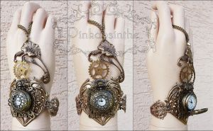 Flower Locket watch cuff by Pinkabsinthe