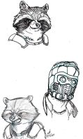 Rocket Raccoon and Star-Lord Drawings by ConstantM0tion