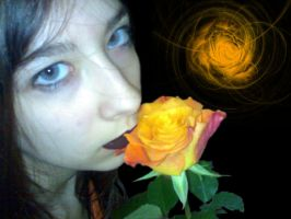 grey eyes with a orange rose.. by daemonia-mil