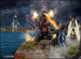 Godzilla Vs Spacegodzilla Photo Edit by Legrandzilla