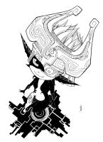 Fanart Midna TLoZ Twilight Princess B/W version by Cartakerjvb