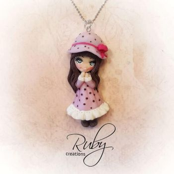 Polymer clay doll necklace, Sarah Kay inspired by Ruby-creations