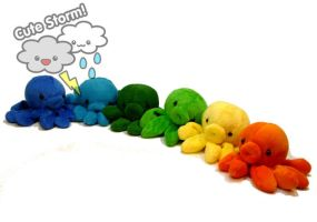 Octopus plush rainbow by The-Cute-Storm