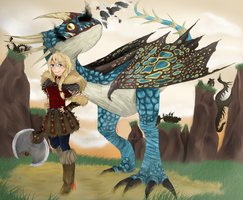 Astri the dragon rider by DemonNagareboshi