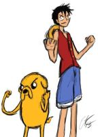 Adventure Time One Piece Luffy and Jake by Commie-Panda