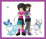 Sajoco and Claire friends with Digimon by SajocosAngel
