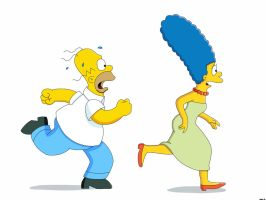 Homer Simpson and Marge Simpson run by Spartandragon12