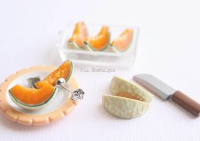 Melon fruit earrings jewelry by LaNostalgie05