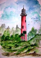 Jupiter Florida Lighthouse art by derekmccrea