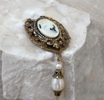 Brass and Cameo Brooch by Aranwen