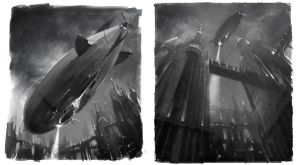 The Airships of Bridge City by atomhawk