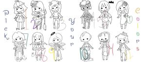 Hallows Eve PYC Chibi Adoptables! OPEN! 10 pts+! by FuzzyScribbles