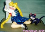 Usagi and Luna Sculpture by Pyramidcat