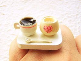 Coffee and Sugar Miniature Food Ring by souzoucreations