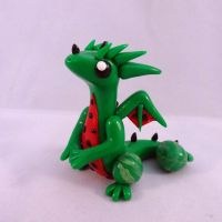 Watermelon Dragon Sculpture by ByToothAndClaw