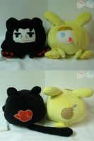 Maru Itachi and Deidara Plushies by LiLMoon