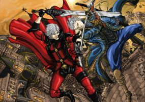 Dante vs Vergil by Txikimorin