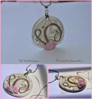 White and Gold Rose Pendant by TheNovelArts