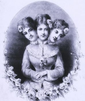 Vintage Three-Headed Woman by HauntingVisionsStock