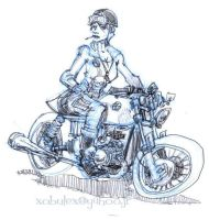 BMW cafer-racer pinup by xobule