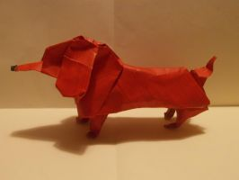Origami Dachshund created and folded by me. by OrigamiFolder13