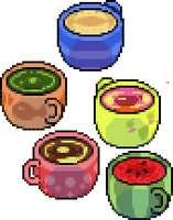 odd drinks in cozy cups by dichibaba