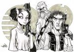 Princess Leia Han Solo and Chewie ink sketch. by Red-J