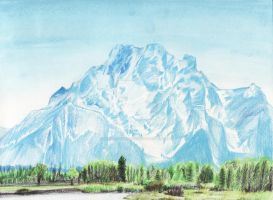 Landscape Drawing - Grand Tetons by EyeoftheDragon237
