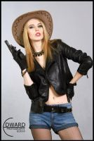 Cowgirl with revolver by Edward-Photography