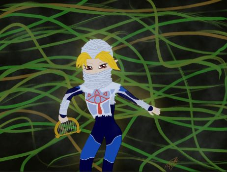 Sheik In Vines (New) by RadianceDashZelda