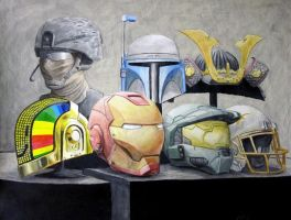 Helmets for Art class by aFletcherKinnear
